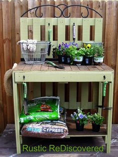 Build a beautiful potting table from pallets topped with a decorative scroll.