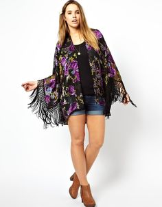 ASOS CURVE - Kimono With Fringe Sleeve In Burnout Devore