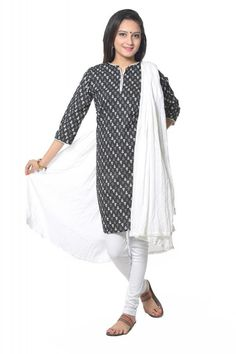 VASTRA VINOD BLACK COTTON KURTI WITH LEGGING