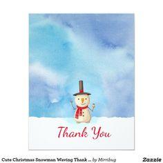 Cute Christmas Snowman Waving Thank You