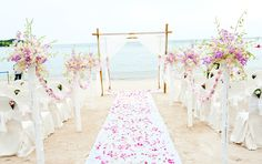 Pink & Purple Beach Wedding Theme.
