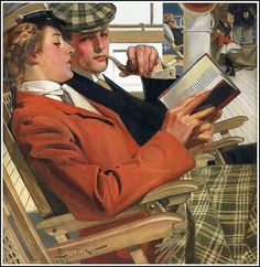 J.C. Leyendecker 'Couple reading in deck chairs' 1904 by Plum leaves, via Flickr