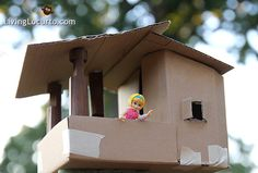 Cardboard Playhouse -  Tree House Kids Craft by LivingLocurto.com