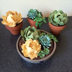 I made these little paper succulents with Stampin' Up! Punches, dies, papers, stamps and ink. Lisaystamps.stampinup.net