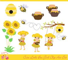 Cute Little Bee Girl Clip Art Set by 1EverythingNice on Etsy