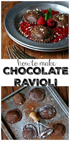 Wanna make an impression with your dessert? Try making Chocolate Ravioli. Serve … Wanna make an impression with your dessert? Try making Chocolate Ravioli. Serve it on top of a bed of raspberry puree and wait for all the heart eyes Köstliche Desserts, Chocolate Desserts, Delicious Desserts, Dessert Recipes, Unique Desserts, Recipes With Chocolate Pasta, Raspberry Chocolate, Chocolate Chocolate, Unique Recipes