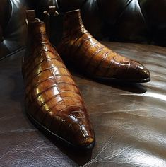 Alligator Chelsea Boots Alligator Slip On Dress Boots for Men Mens Shoes Boots, Mens Boots Fashion, Shoe Boots, Men's Boots, Men Dress Shoes, Suit Fashion, Ankle Boots, Alligator Boots, Boots For Sale