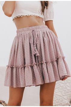 Polka Dot High Waist A Line Tassel Pink Mini Skirt - Skirts - Mini Skirt Outfit Chiffon Skirt, Ruffle Skirt, Cute Skirts, Short Skirts, Women's Skirts, Green Satin Dress, Beach Skirt, Leopard Skirt, Summer Skirts