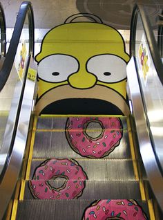 Arte Callejero / Street Art - Homer Simpson My escalator :) Creative Advertising, Guerrilla Advertising, Funny Advertising, Advertising Ideas, Ads Creative, Print Advertising, Advertising Campaign, Creative People, Advertisement Examples