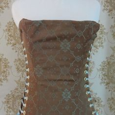 Brown & blue small overbust corset