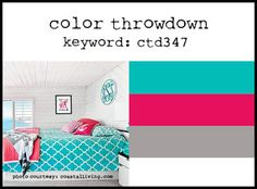 Color Throwdown #347 Countdown   My interpretation for Stampin' Up! colors:  Bermuda Bay, Melon Mambo, Smoky Slate.  LOVE.
