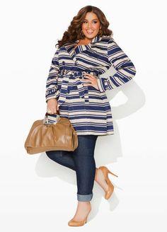 Ashley Stewart Striped Trench Coat and Skinny Five Pocket Denim.