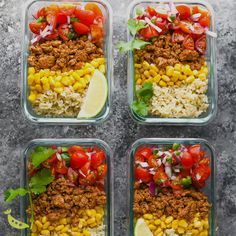 Healthy Meals 561683384778978617 - These turkey taco meal prep bowls are made with turkey taco meat, corn, pico de gallo and brown rice and are simple, but filling. Make them ahead for four delicious lunches. Easy Healthy Meal Prep, Easy Healthy Recipes, Healthy Eating, Heart Healthy Meals, Healthy Work Lunches, Easy Lunch Meal Prep, Weekly Meal Prep, Meal Prep Keto, Simple Meal Prep