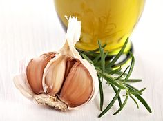 Close-up of garlic, rosemary and olive oil. Antipasto, Close Up, Olive Oil, Garlic, Spices, Vegetables, Food, Gardening, Gastronomia
