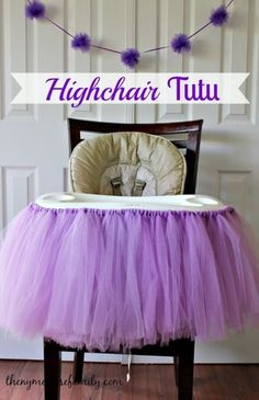 Up your smash cake photo op game with a no-sew tutu for your baby's highchair. The little ballerina in your life will look even cuter (if that's possible) sitting behind a big tuft of tulle. // First Birthday Party Ideas