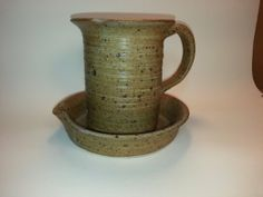 I want one of these    ~ Bacon Cooker - Handmade Pottery (Gray Color - Accented in Rustic Wheat - Being Handmade Cooker C...
