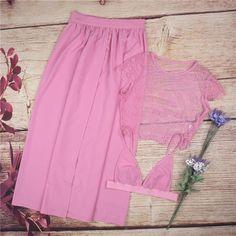 Three Pieces Lace Crop Top Slit Long Skirt Dress Set