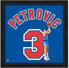 "Drazen Petrovic New Jersey Nets Officially Licensed 20"" x 20"" Uniframe"