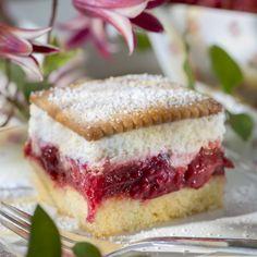 Butterkeks-Himbeer-Kuchen. Schmeckt auch mit Johannisbeeren hervorragend!