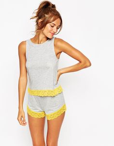 Image 1 of ASOS Lace Trim Tank & Short Pajama Set
