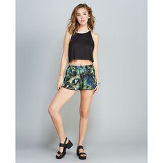 Jungle Boogie Pompom Trim Shorts ($23) ❤ liked on Polyvore featuring shorts, multi colored, colorful shorts, elastic waistband shorts, palm tree shorts, crochet shorts and palm print shorts