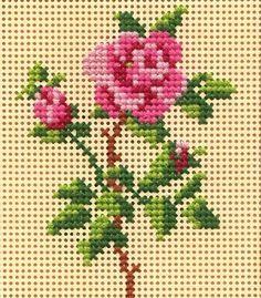 miniature rose cross stitch chart.