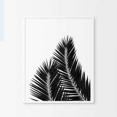 Palm Leaf Poster Black and White Plant by TheScandinavianHome White Plants, Scandinavian Home, Online Printing, Palm, Colours, Black And White, Drawings, Artwork, Prints