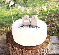 Wedding Cake Topper Brown Burlap Birds Woodland Wedding Rustic Barn Wedding Nursery Home Decor. £70.00, via Etsy.