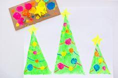 hello, Wonderful - SPONGE PAINTED CHRISTMAS TREE ART