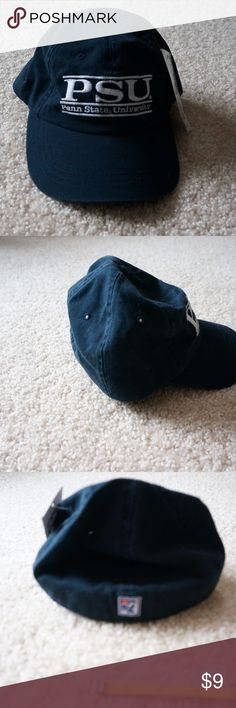 NWT Penn State University Collegiate Cap Hat Navy hat with embroidered white lettering. 100% Cotton. Made in Korea. Officially Licensed Collegiate Product. New condition. Pet free smoke free home. The Game Accessories Hats