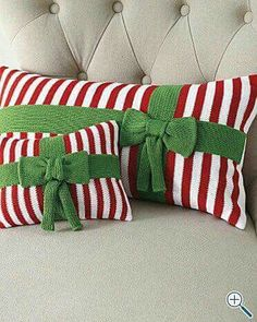 Candy Cane Pillow with Green Bow Ribbon