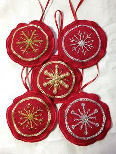 Goldwork Christmas tree ornaments Embroidered Christmas Ornaments, Christmas Tree Ornaments, Christmas Decorations, Holiday Decor, All Things Christmas, Christmas Ideas, Goldwork, Beading, Embroidery