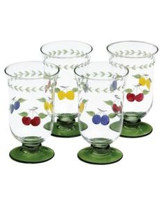 Villeroy & Boch Glassware, French Garden Cheer Sets of 4 Collection $39.99 A taste of the country. Hand painted and etched, French Country Cheer glassware from Villeroy & Boch's collection of drinking glasses brings colorful refreshment to casual tables. Featuring summer fruit and vines to complement the dinnerware collection.