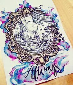 Ideas Tattoo Harry Potter Hogwarts Nerd For 2019 Harry Potter Tattoos, Arte Do Harry Potter, Harry Potter Drawings, Harry Potter Love, Harry Potter Universal, Harry Potter Fandom, Harry Potter Painting, Harry Potter Castle, Hogwarts Tattoo