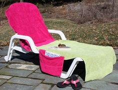 Pool and beach time are nearly here and that means hours of relaxation in a comfortable lounge chair.  Draping a towel over the chair is a common practice but isn't it annoying when the wind blows the towel off?  Solve that problem by making a chair cover with a back pocket to hold the cover …