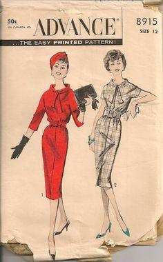 UNCUT Vintage 1950's Dress Pattern Vogue 8747 by SewPatterns