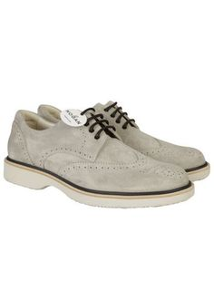 HOGAN Derby Perforated Laced Up - Soft Light Grey Suede Rubber Light Outsole. #hogan #shoes #derby-perforated-laced-soft-light-grey-suede-rubbe