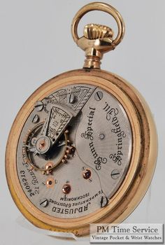 "Illinois ""Bunn Special"" vintage pocket watch, 18 Size, 21 Jewels, heavy yellow gold filled screw back & bezel case."