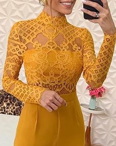 Shop Mock Lace Bodice Insert Bell-Bottom Jumpsuit right now, get great deals at joyshoetique Red Pantsuit, Womens Fashion Online, Lace Bodice, Bell Bottoms, Amazing Women, Sleeve Styles, Cool Style, Sexy Women, Clothes For Women