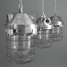 Imposing industrial pendants from a former Czechoslovakian factory.