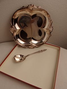 Price Reduced - Vintage International Deepsilver Empress Pattern 2pc (Dish & Spoon) Silver Plated Party Set in Original Box