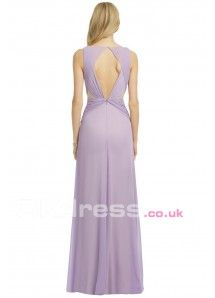 Lilac A-Line Pleated Chiffon Long Evening Gowns