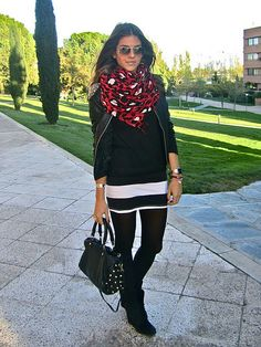 How to wear a lot of BLACK: booties, tights, dress or long sweater, colorful scarf :)