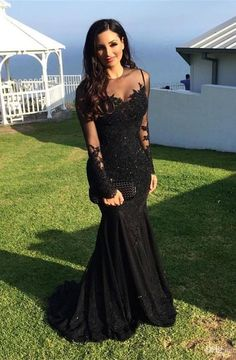Modset Mermaid Black Long Sleeves Prom Evening Dress with Appliques