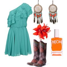 """""""Orange and Turquoise"""" by cassie-lea on Polyvore"""