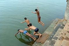 Diving, Children, Boys, River, Krishna