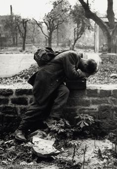 A German soldier returns home only to find his family no longer there. Frankfurt, 1946. Photo by Tony Vaccaro