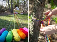 rainbow treasure hunt! (alternate idea: As a kid I went to a friend's birthday party where her mom did something similar–except, each color of yarn was wrapped around the room individually, leading to personalized gift bags. It was a giant maze that forced everyone to crawl all around, under and over each other to follow our trail. She tied the end opposite of the gift bag to a TP roll, so that we could wind up the yarn as we went. It was a blast!)