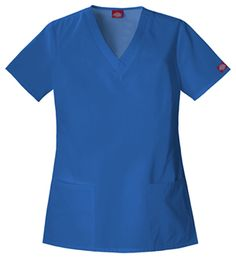 """V-Neck Top in Royal An innovative Missy fit V-neck top features a basket weave neckline bust darts, roomy patch pockets, and side vents. Center back length 27.5"""".  Fabric: Poly/Cotton $17.99 #scrubs #nurses #doctors #medicaloutlet"""