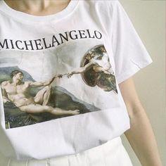 954cf32dd601 Michelangelo Shirt, aesthetic clothing, rave outfit, aesthetic shirt,  vaporwave, aesthetic gift, tumblr clothing, michelangelo t shirt